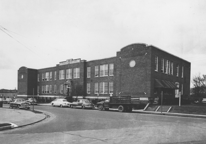 The 'new' Fuller School in the 1950s, looking northwest from East Chapel  Hill and Cleveland Sts. (Courtesy Durham County Library)